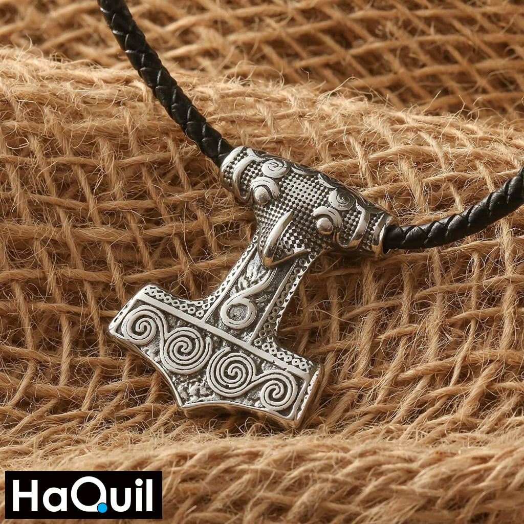 Haquil Viking Mjolnir Shape Raven Skull Necklace Jewelry
