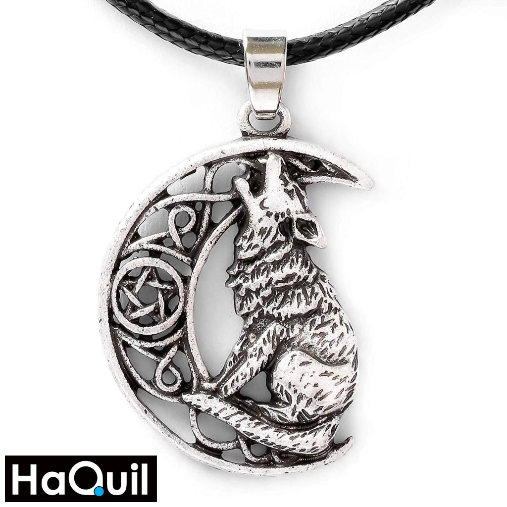 Haquil Viking Moon Howling Wolf Necklace Alloy / Womens Metal Jewelry