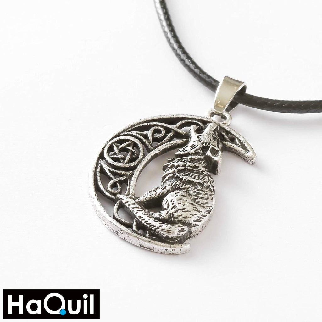 Haquil Viking Moon Howling Wolf Necklace Jewelry