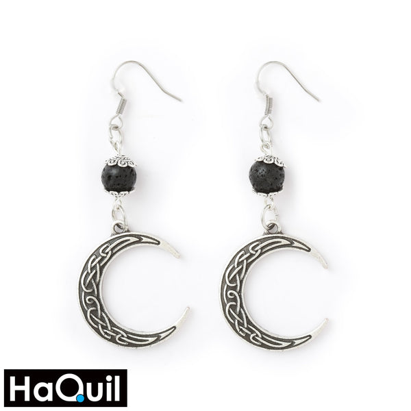Haquil Viking Moon Trinity Lava Stone Earrings Alloy / Womens Metal Jewelry