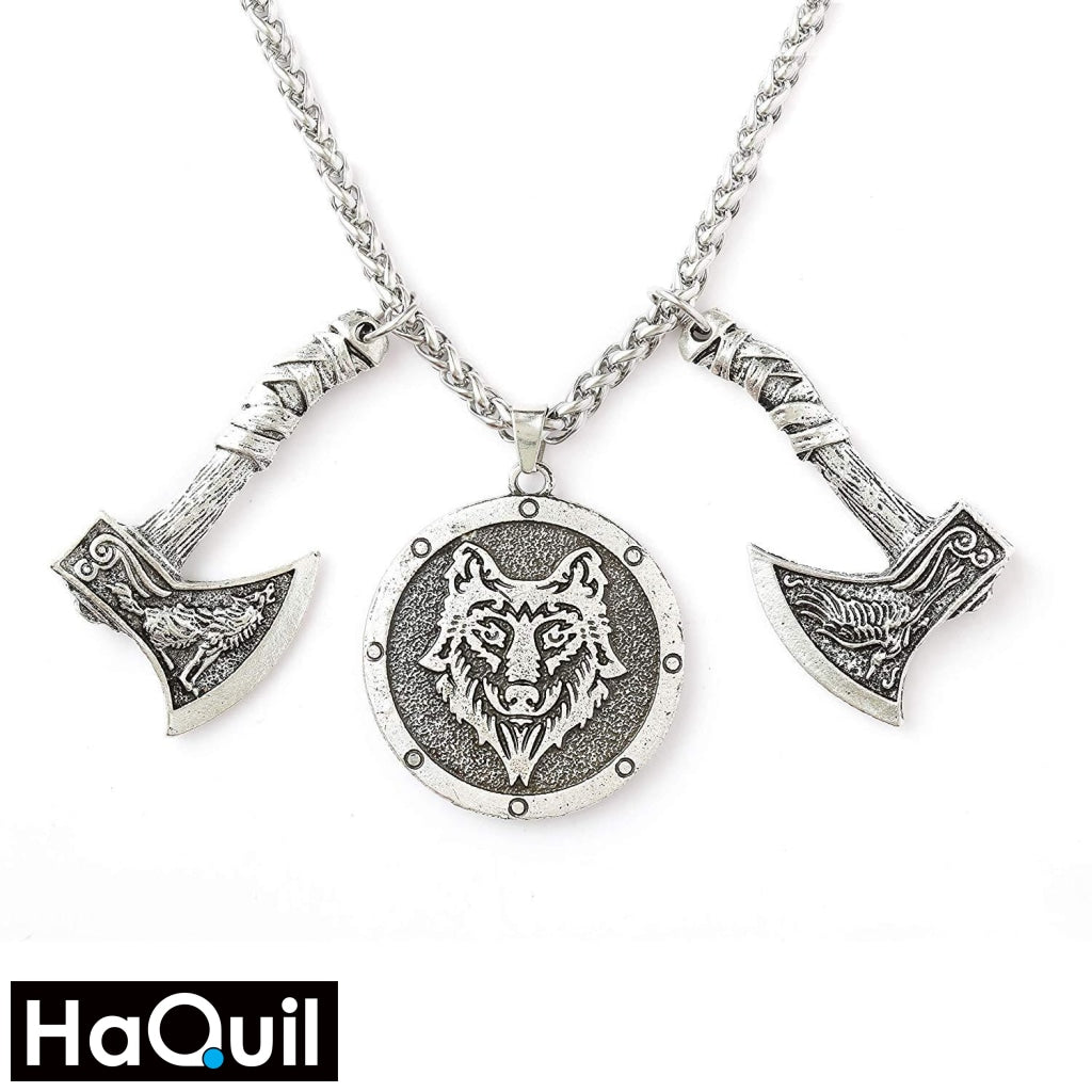 Haquil Viking Nordic Wolf Raven Axe Head Necklace Alloy / Womens Metal Jewelry