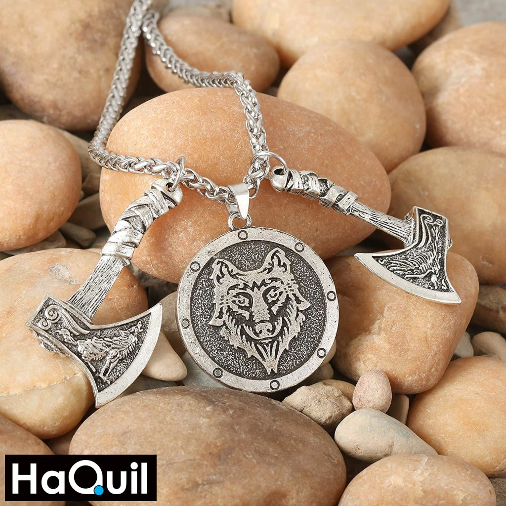 Haquil Viking Nordic Wolf Raven Axe Head Necklace Jewelry