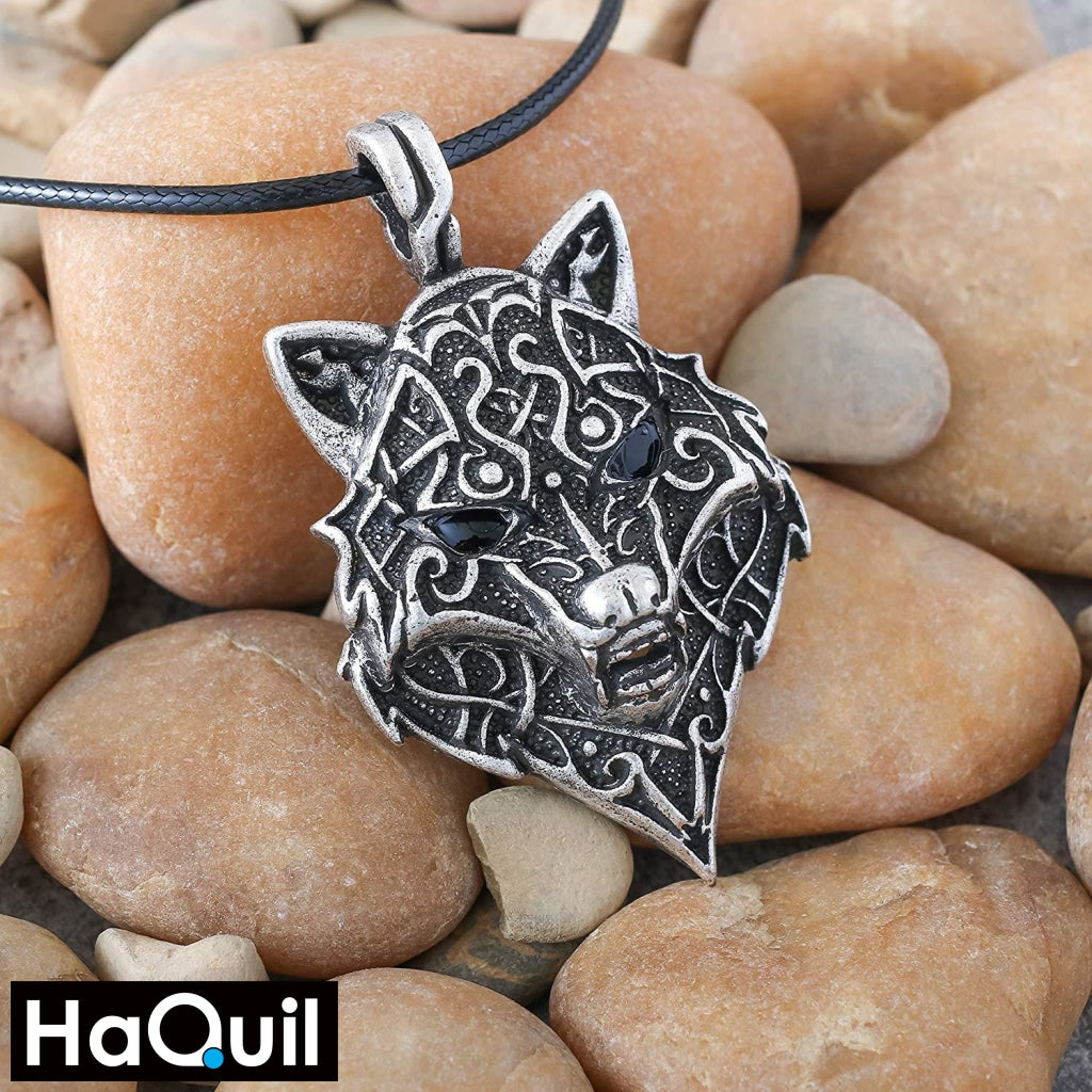 Haquil Viking Norse Wolf Head Necklace Jewelry