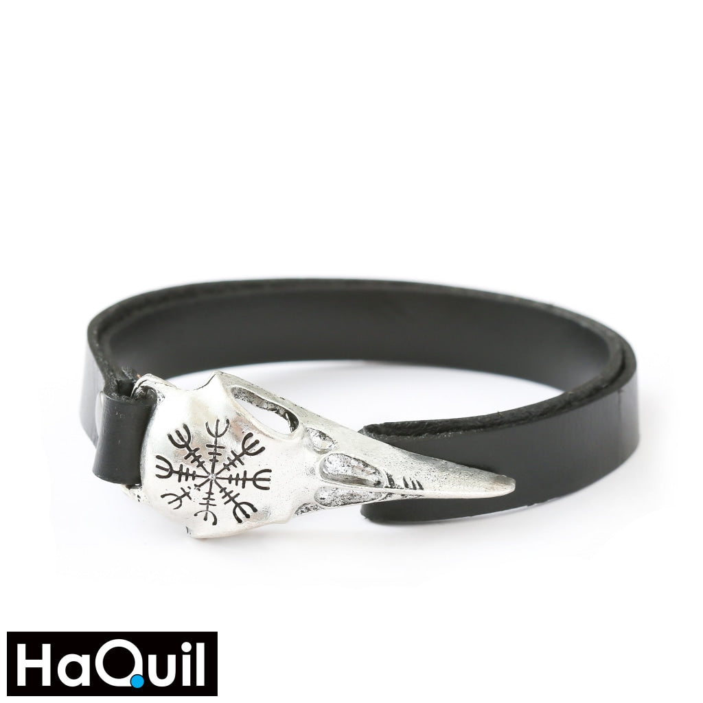 Haquil Viking Odin Symbol Raven Leather Bracelet Alloy / Womens Leather Metal Jewelry