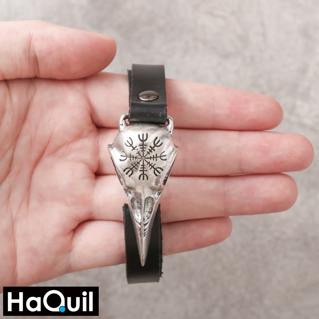 Haquil Viking Odin Symbol Raven Leather Bracelet Jewelry