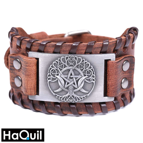 Haquil Viking Odin Symbol Tree Of Life Bracelet Alloy / Womens Leather Metal Jewelry
