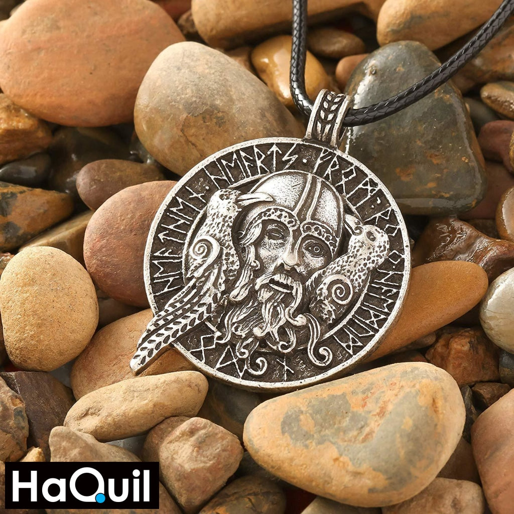 Haquil Viking Odin With Ravens Necklace Jewelry