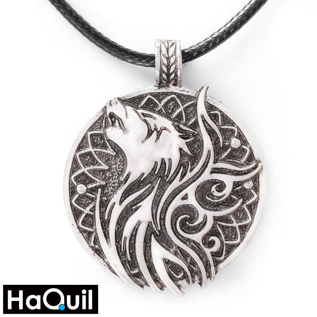 Haquil Viking Odin Wolf And Crow Necklace Alloy / Womens Metal Jewelry