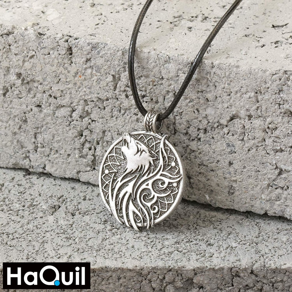 Haquil Viking Odin Wolf And Crow Necklace Jewelry