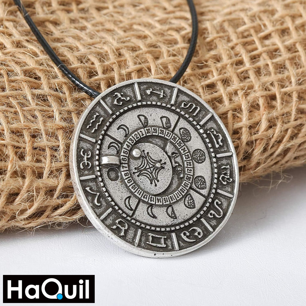 Haquil Viking Old Moon Phase Necklace Jewelry