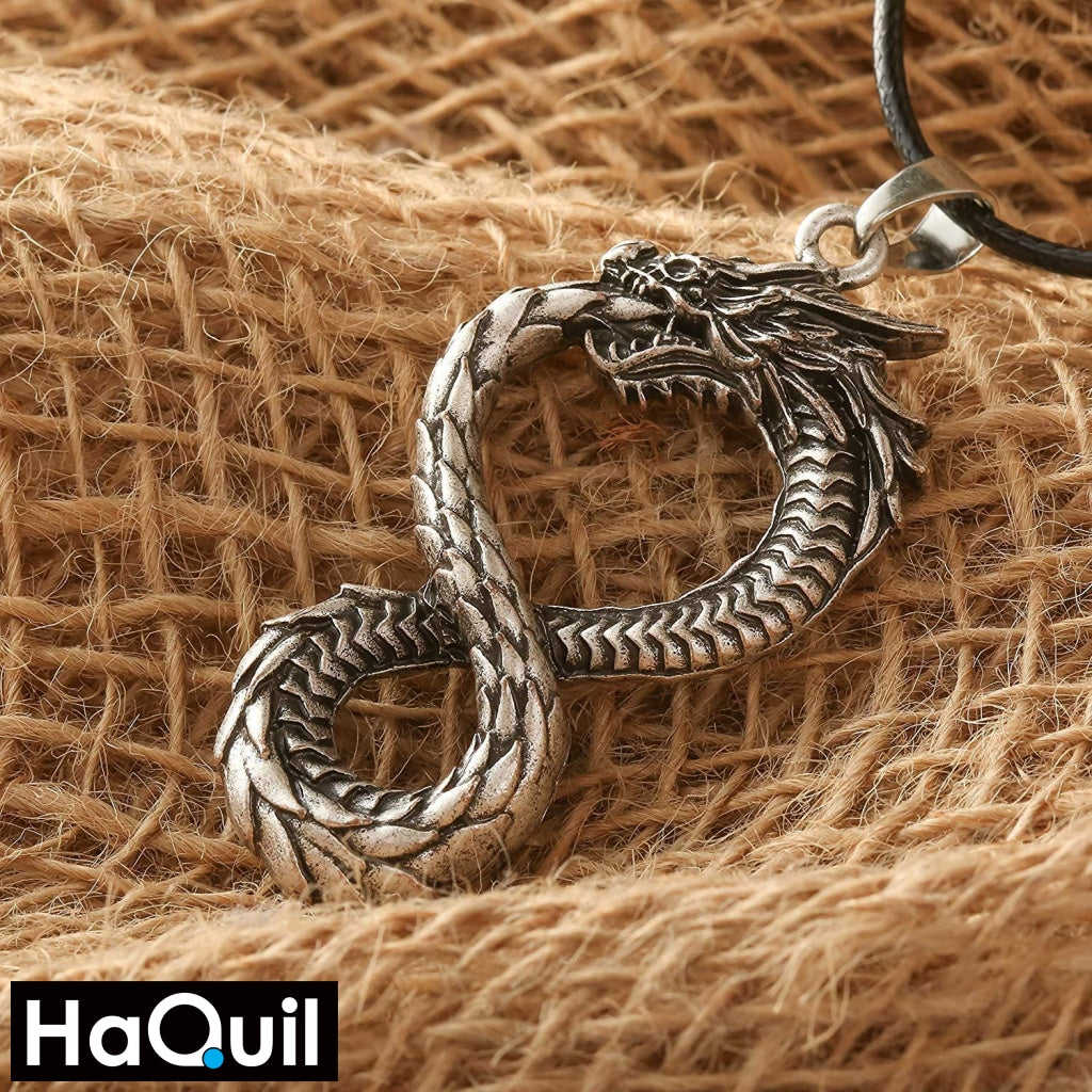 Haquil Viking Ouroboros Snake Eats Its Tail Necklace Jewelry