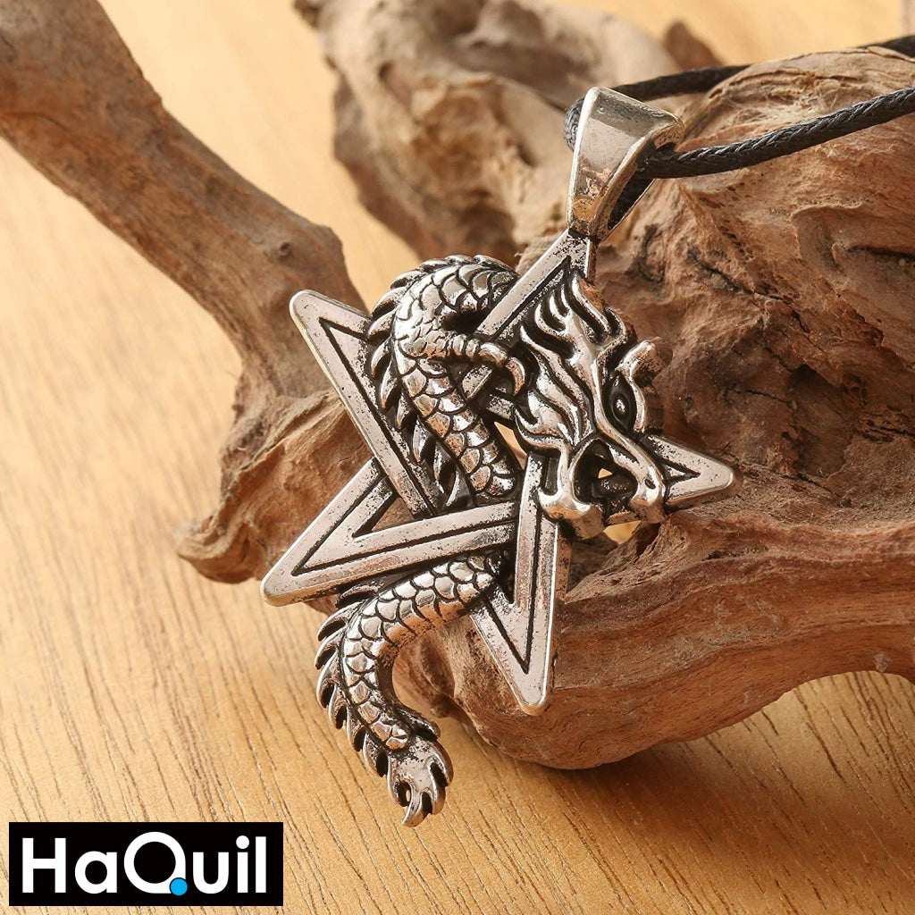 Haquil Viking Pentagram Dragon Necklace Jewelry