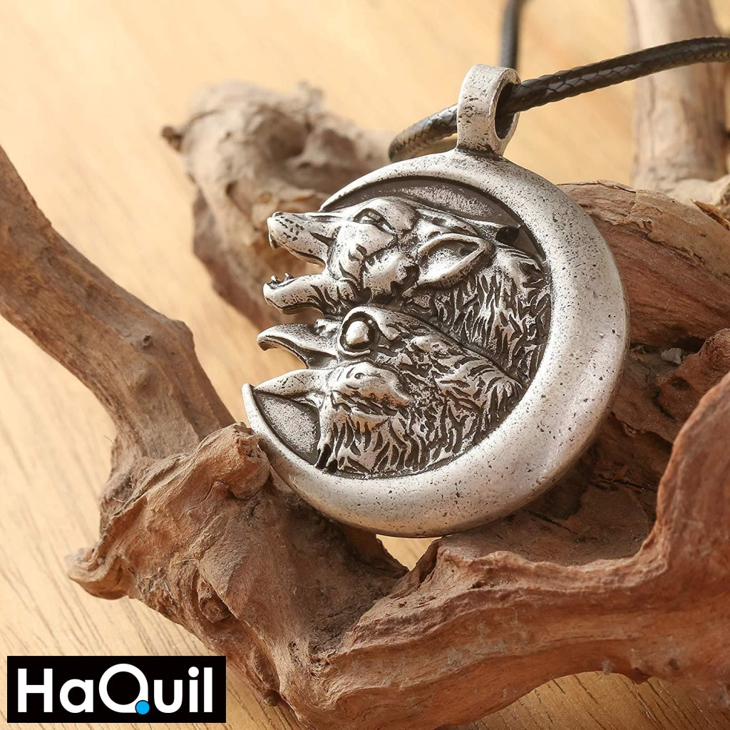 Haquil Viking Raven And Wolf On The Moon Necklace Jewelry
