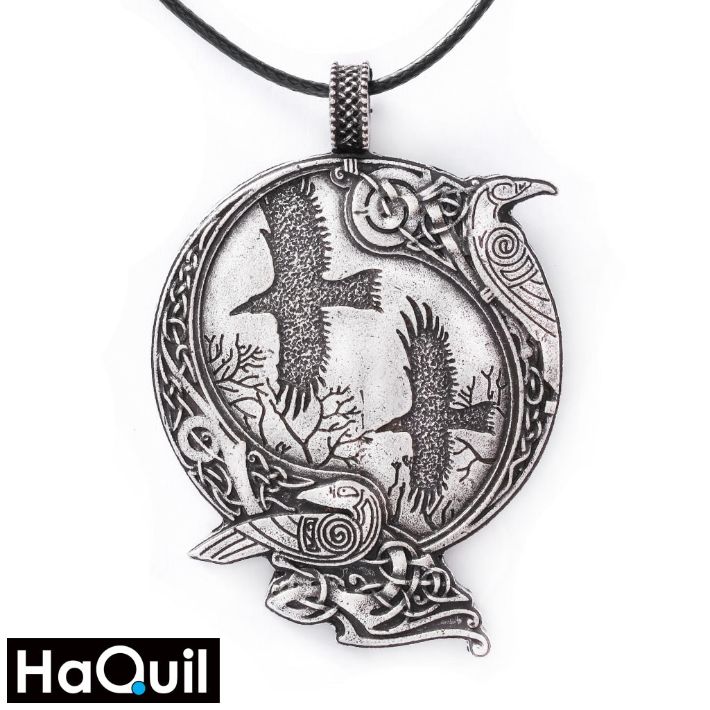Haquil Viking Raven Bird Couple Round Pendant Necklace Alloy / Boys Metal Jewelry