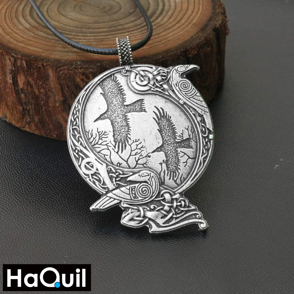 Haquil Viking Raven Bird Couple Round Pendant Necklace Jewelry