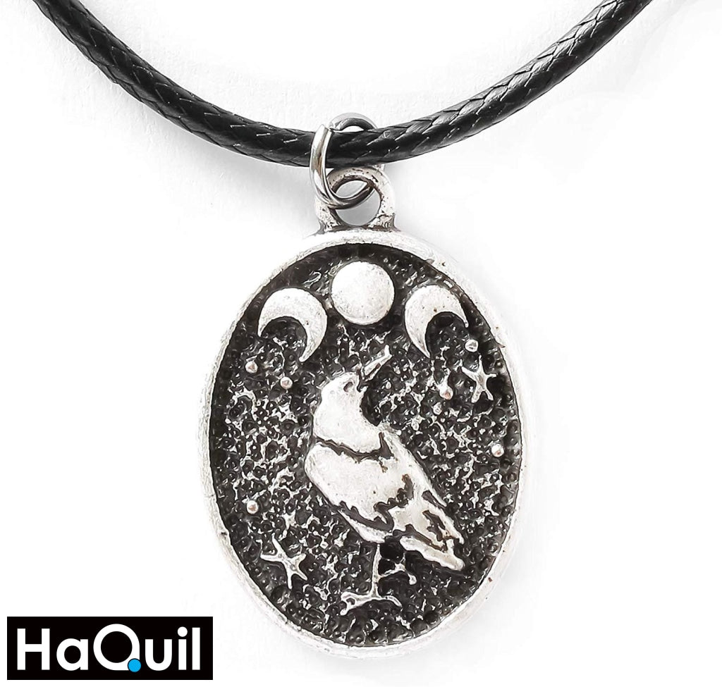 Haquil Viking Raven Bird Triple Moon Necklace Alloy / Boys Metal Jewelry