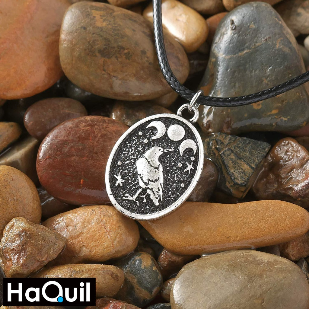 Haquil Viking Raven Bird Triple Moon Necklace Jewelry