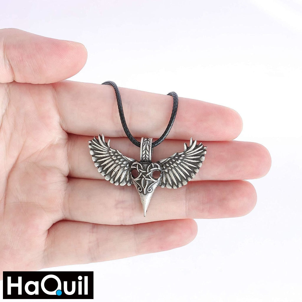 Haquil Viking Raven Bird Wing Heart Necklace Jewelry
