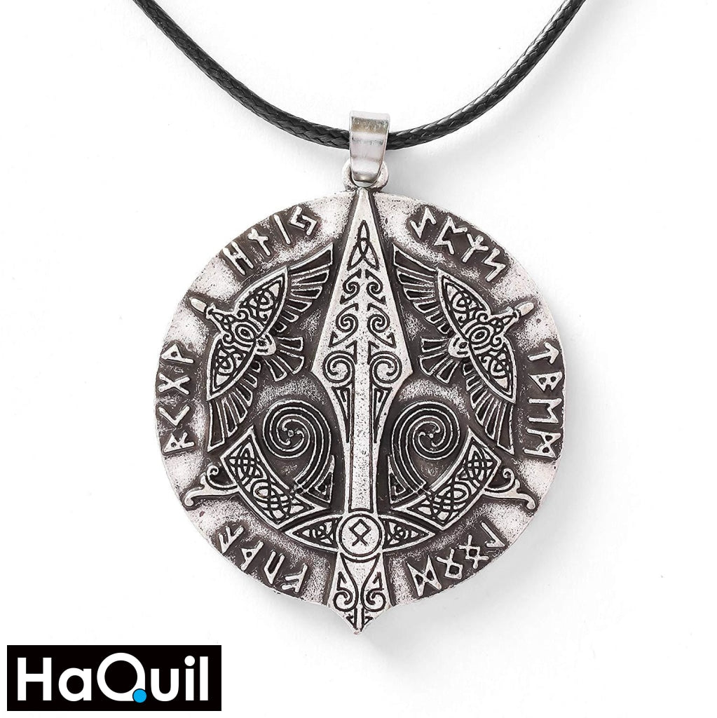Haquil Viking Raven Gungnir Norse Runes Necklace Alloy / Boys Metal Jewelry