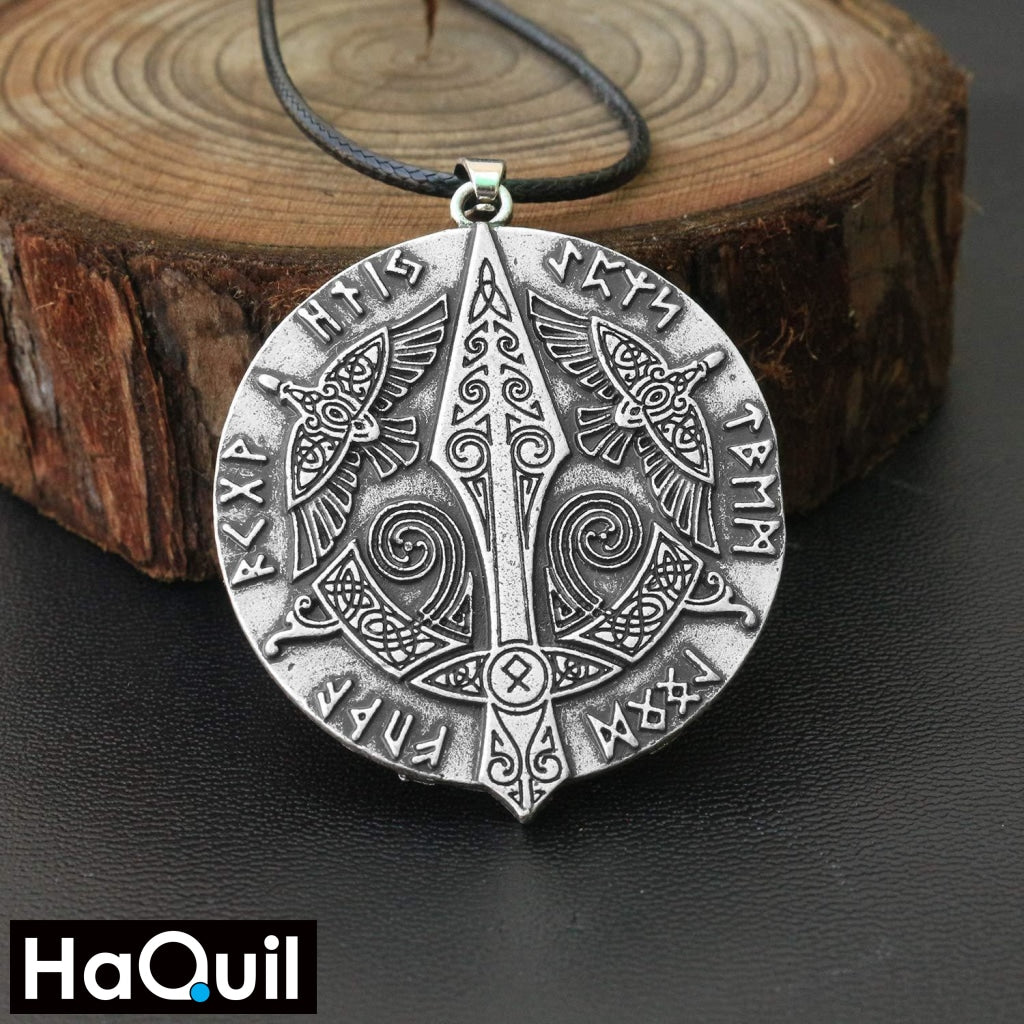 Haquil Viking Raven Gungnir Norse Runes Necklace Jewelry