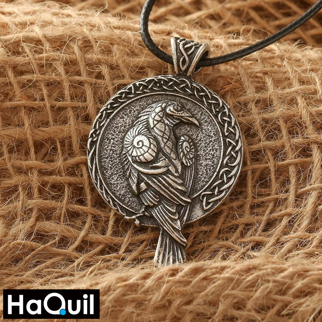 Haquil Viking Raven Round Pendant Necklace Jewelry