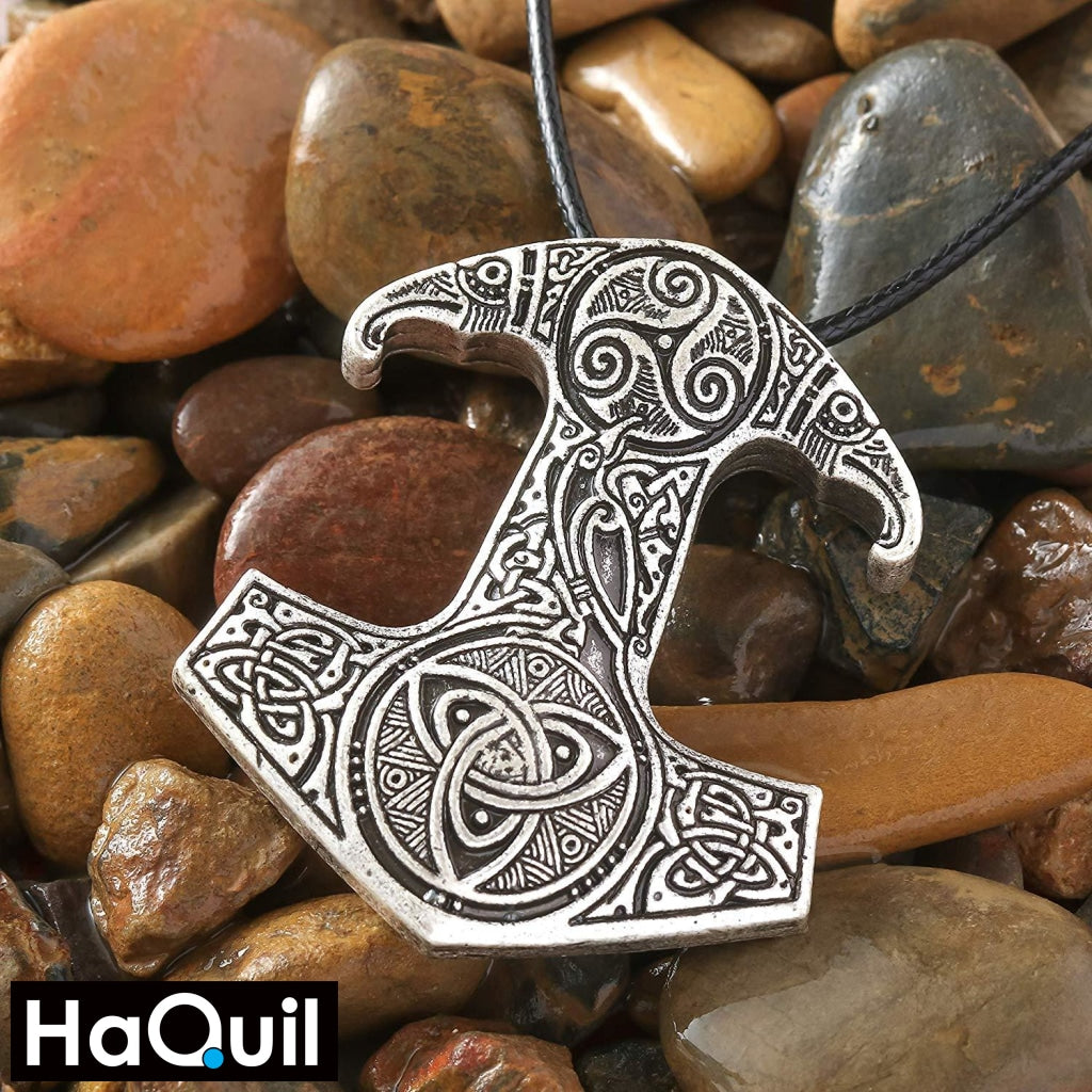 Haquil Viking Raven Thor Hammer Trinity Necklace Jewelry