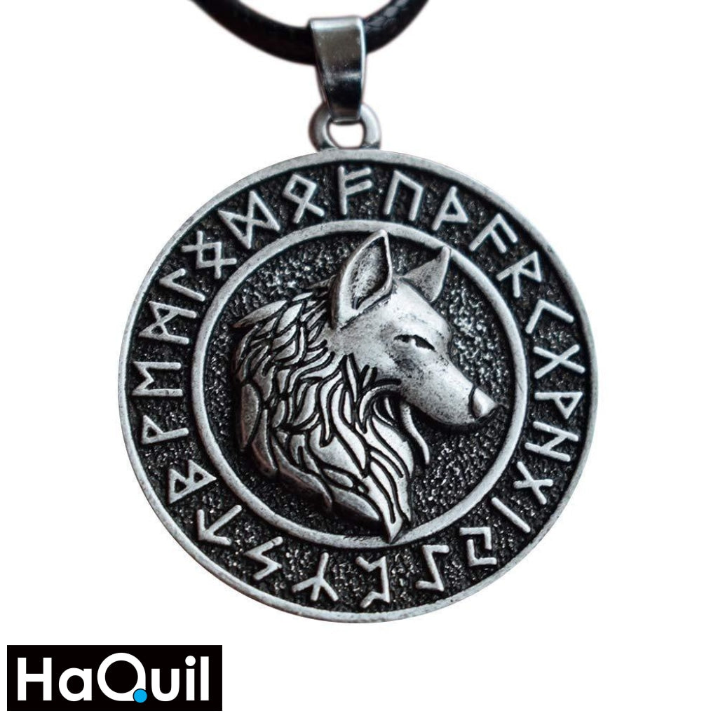 Haquil Viking Rune Ancient Wolf Necklace Alloy / Boys Metal Jewelry