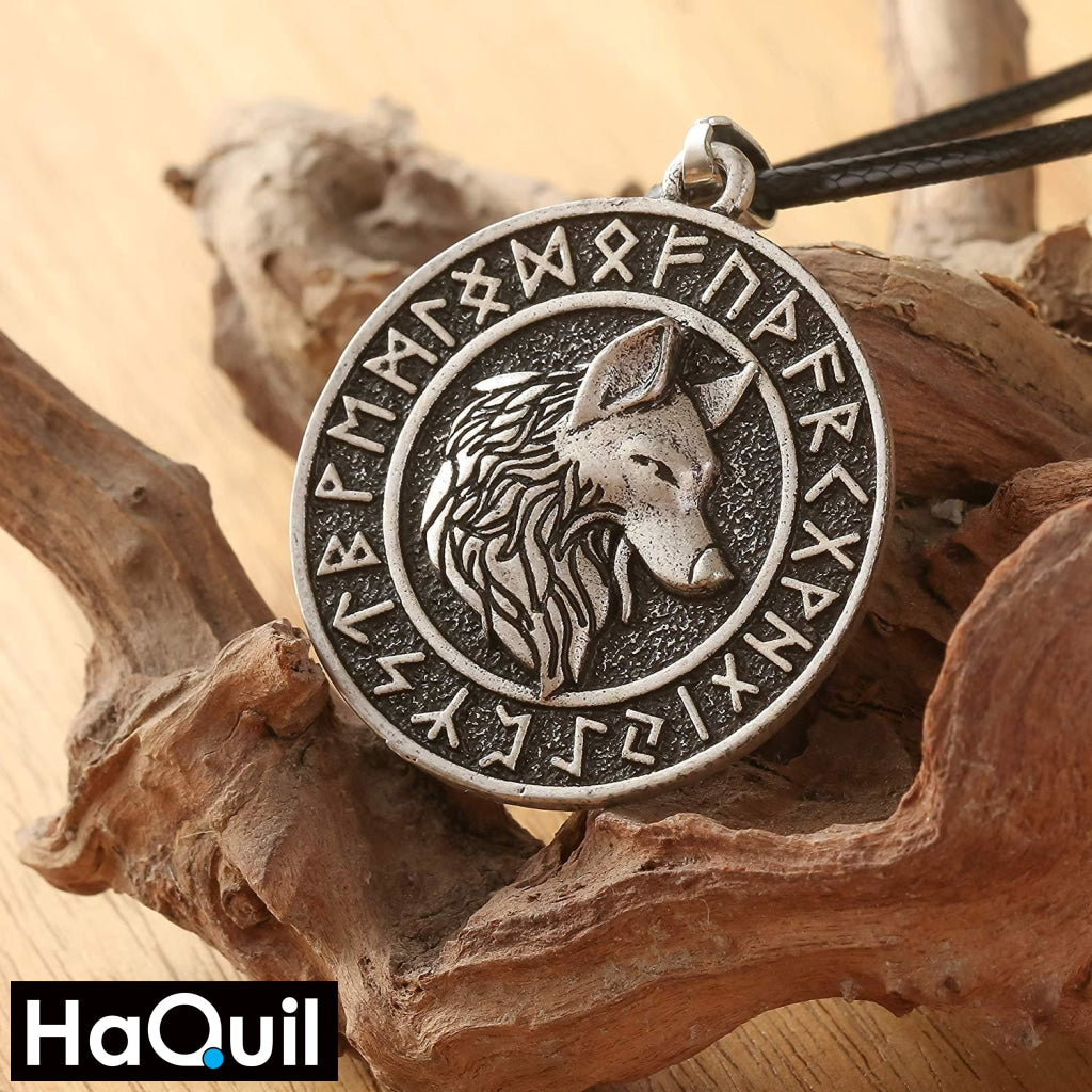 Haquil Viking Rune Ancient Wolf Necklace Jewelry