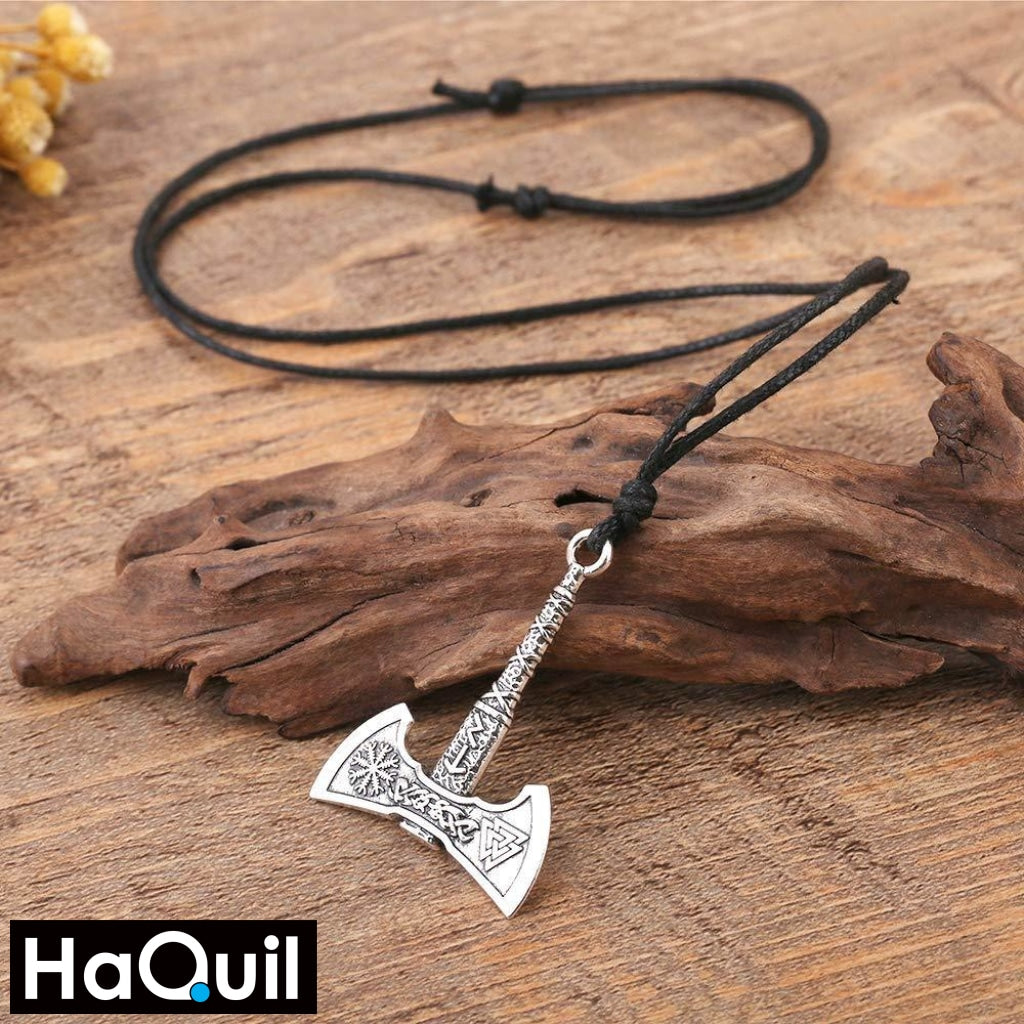 Haquil Viking Rune Axe Necklace Jewelry