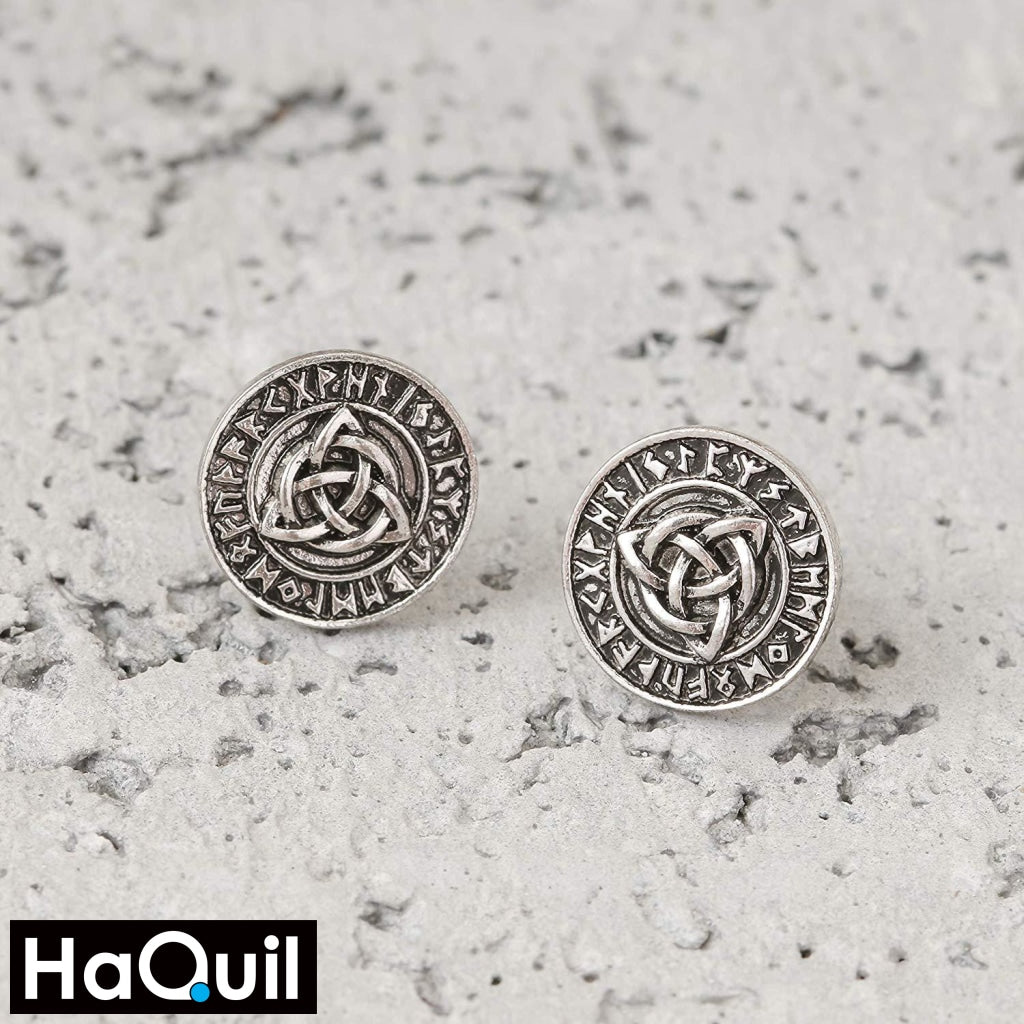 Haquil Viking Runes Celtic Knot Earrings Jewelry