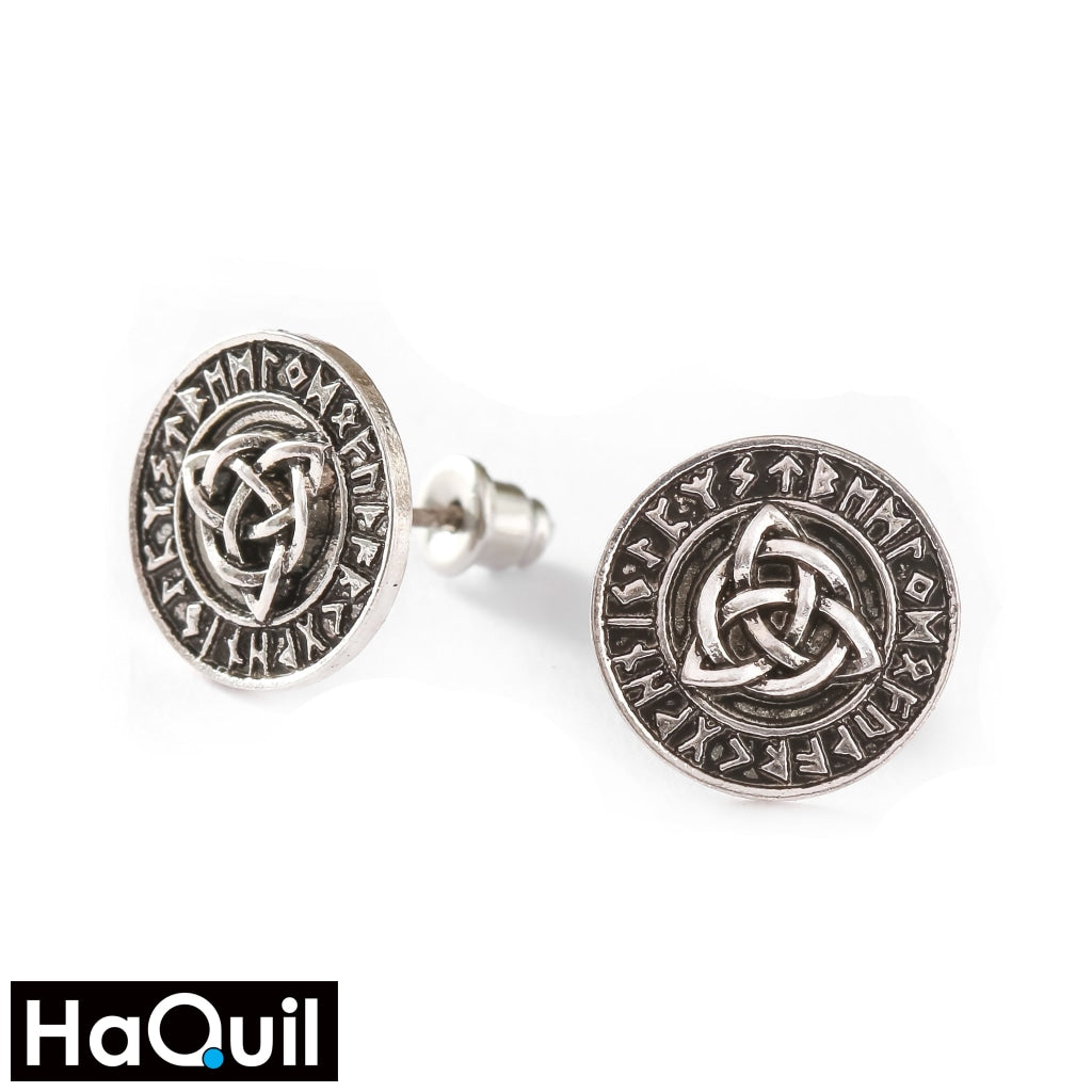 Haquil Viking Runes Celtic Knot Earrings Stainless-Steel / Boys Metal Jewelry