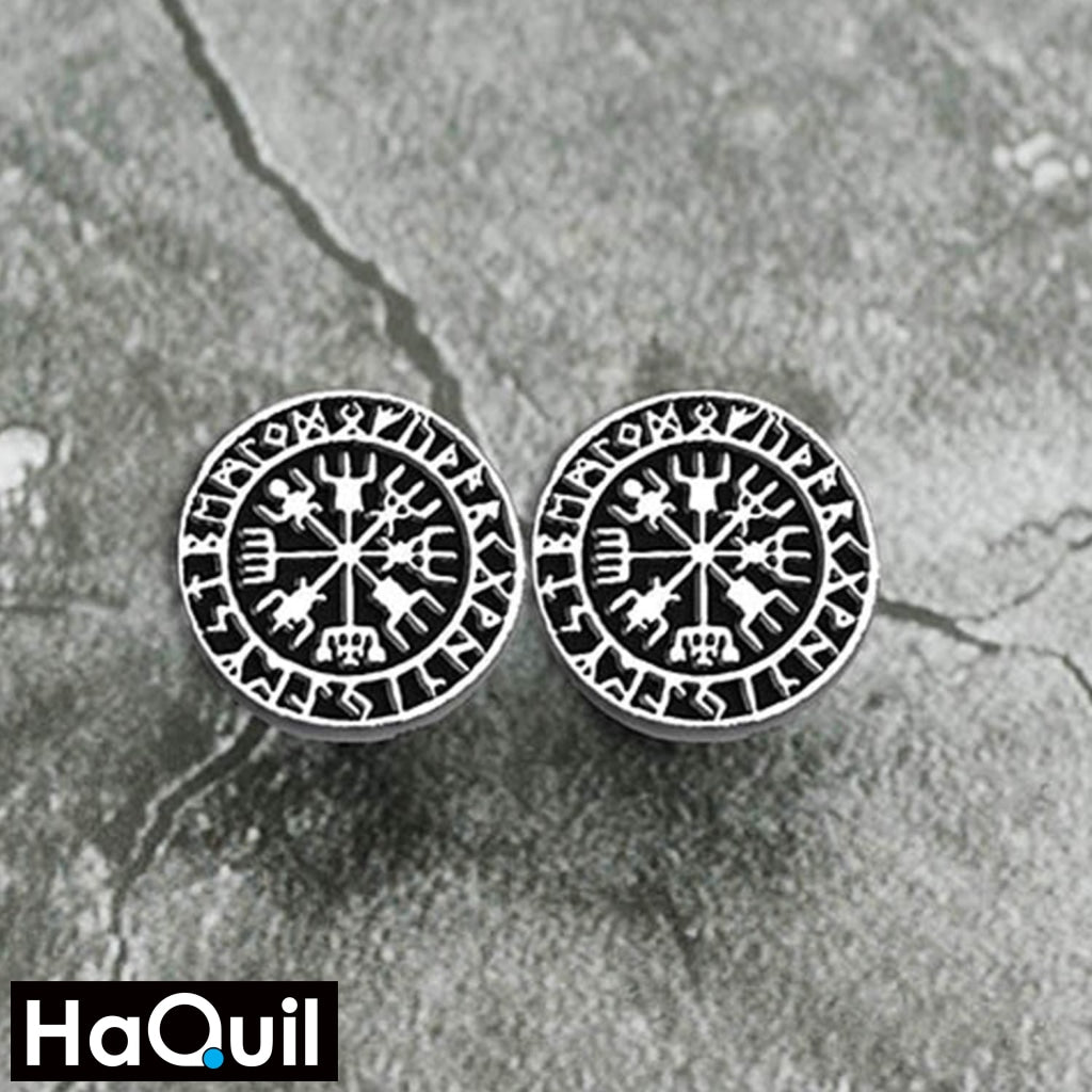 Haquil Viking Runes Vegvisir Earrings Jewelry