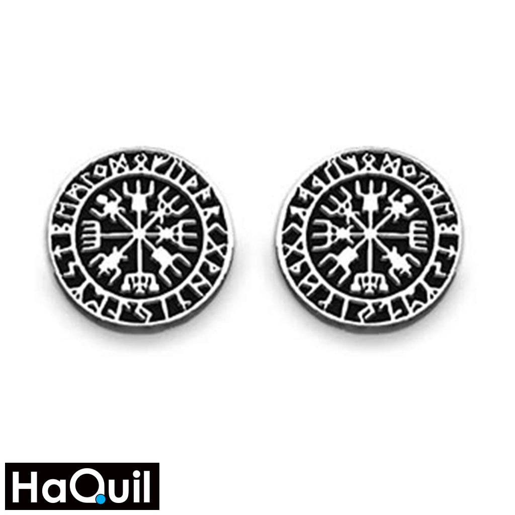 Haquil Viking Runes Vegvisir Earrings White / Alloy Mens Jewelry