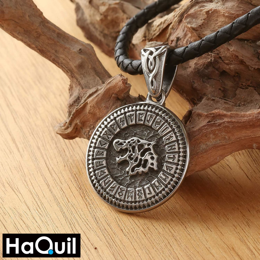 Haquil Viking Runes Wolf Necklace Jewelry