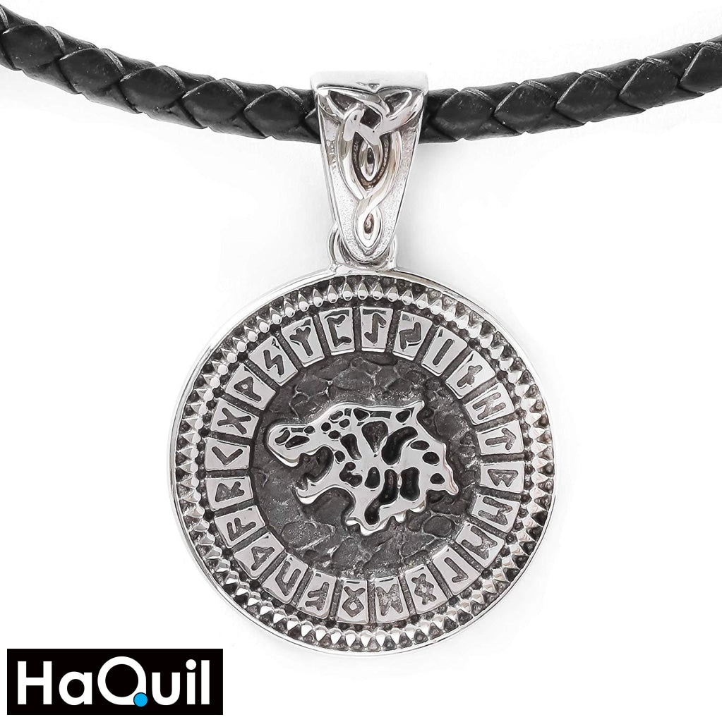 Haquil Viking Runes Wolf Necklace Stainless-Steel / Womens Metal Jewelry