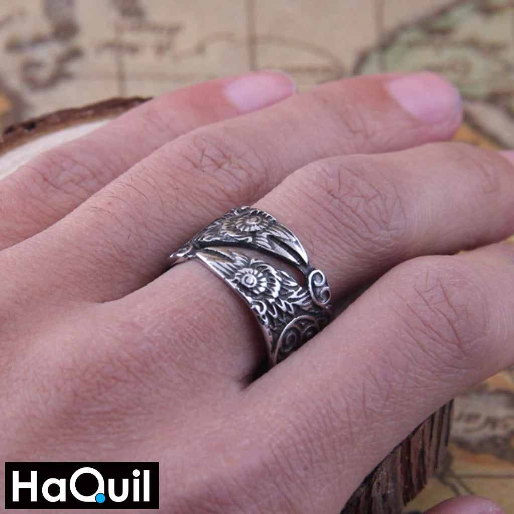 Haquil Viking Silver Odin Raven Bird Ring Jewelry