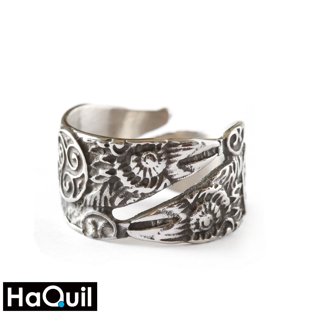 Haquil Viking Silver Odin Raven Bird Ring Stainless-Steel / Womens Metal Jewelry