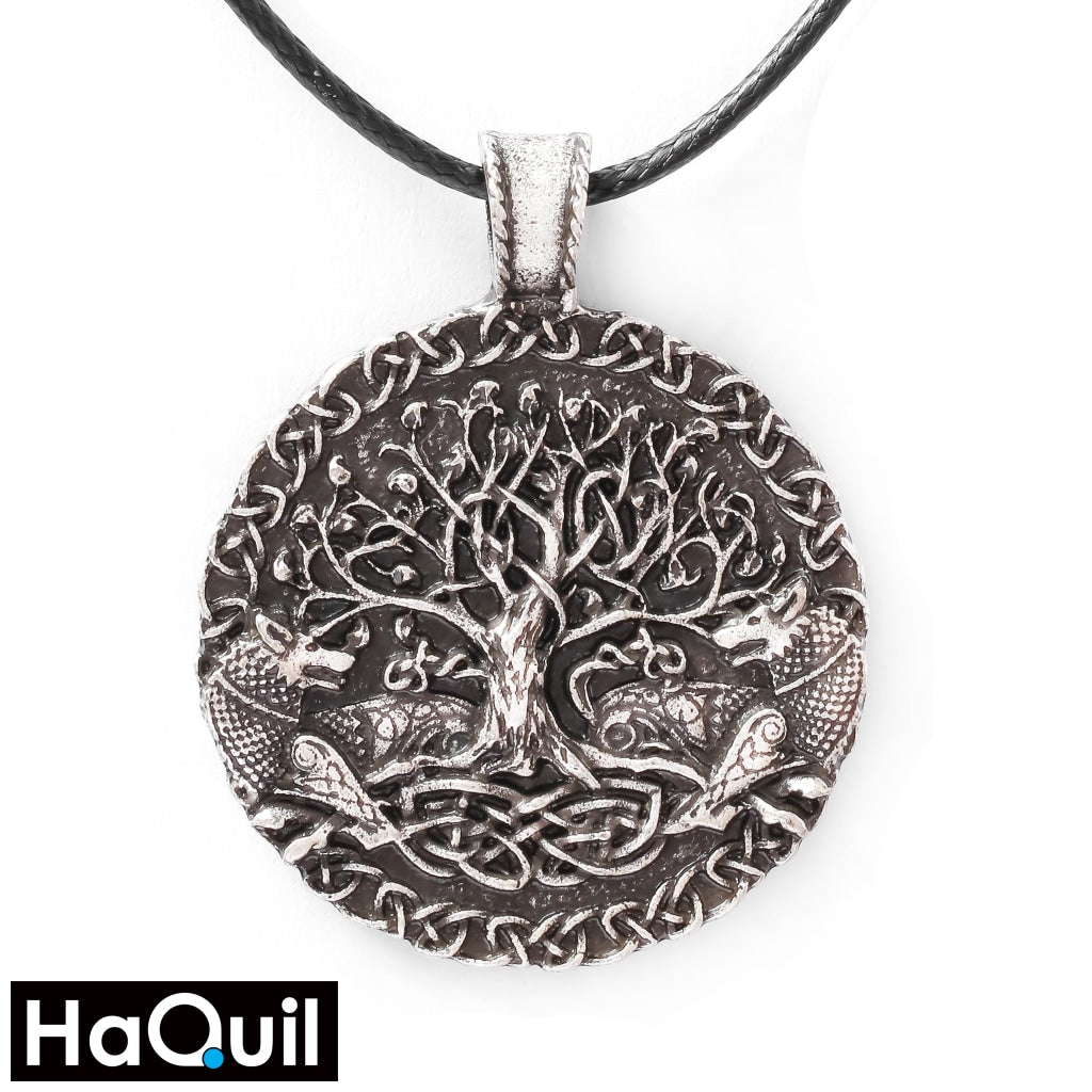 Haquil Viking Silver Tree Of Life Wolf Necklace Alloy / Unisex-Child Metal Jewelry