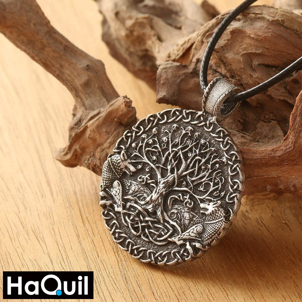 Haquil Viking Silver Tree Of Life Wolf Necklace Jewelry