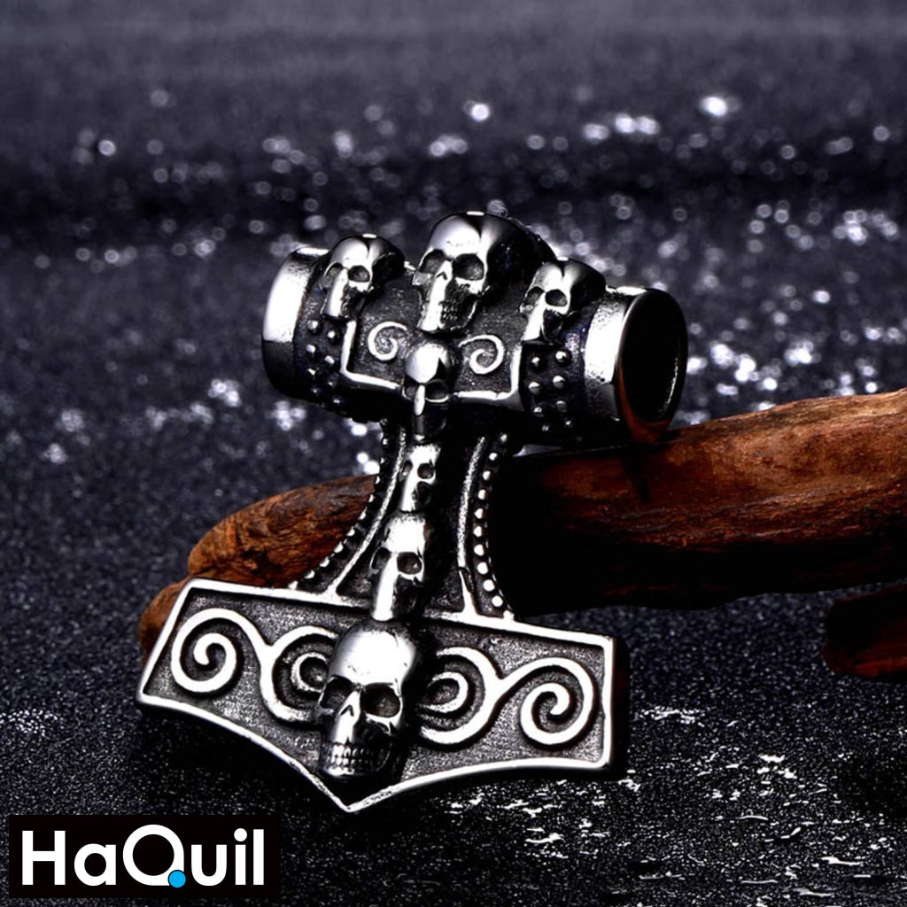 Haquil Viking Skull Mjolnir Hammer Necklace Jewelry