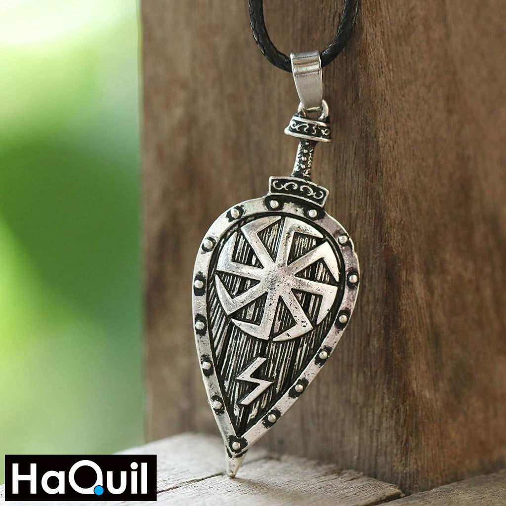 Haquil Viking Slavic Kolovrat Shield Necklace Jewelry