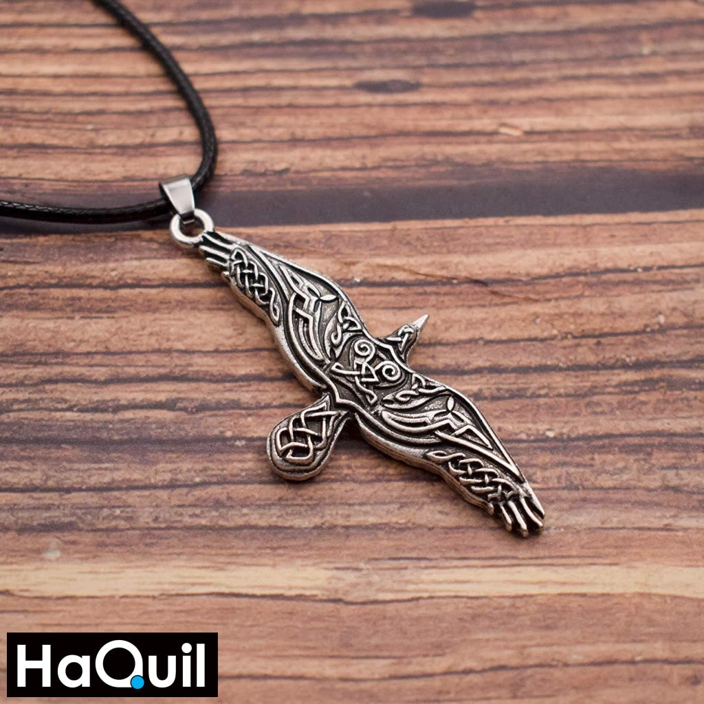 Haquil Viking Talisman Flying Crow Necklace Jewelry