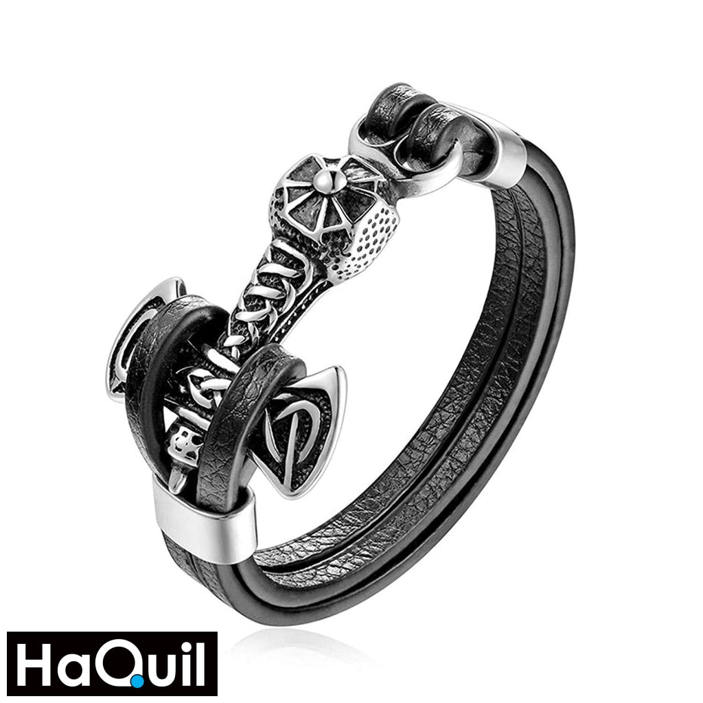Haquil Viking Thor Hammer Leather Bracelet Stainless-Steel / Boys Leather Metal Jewelry