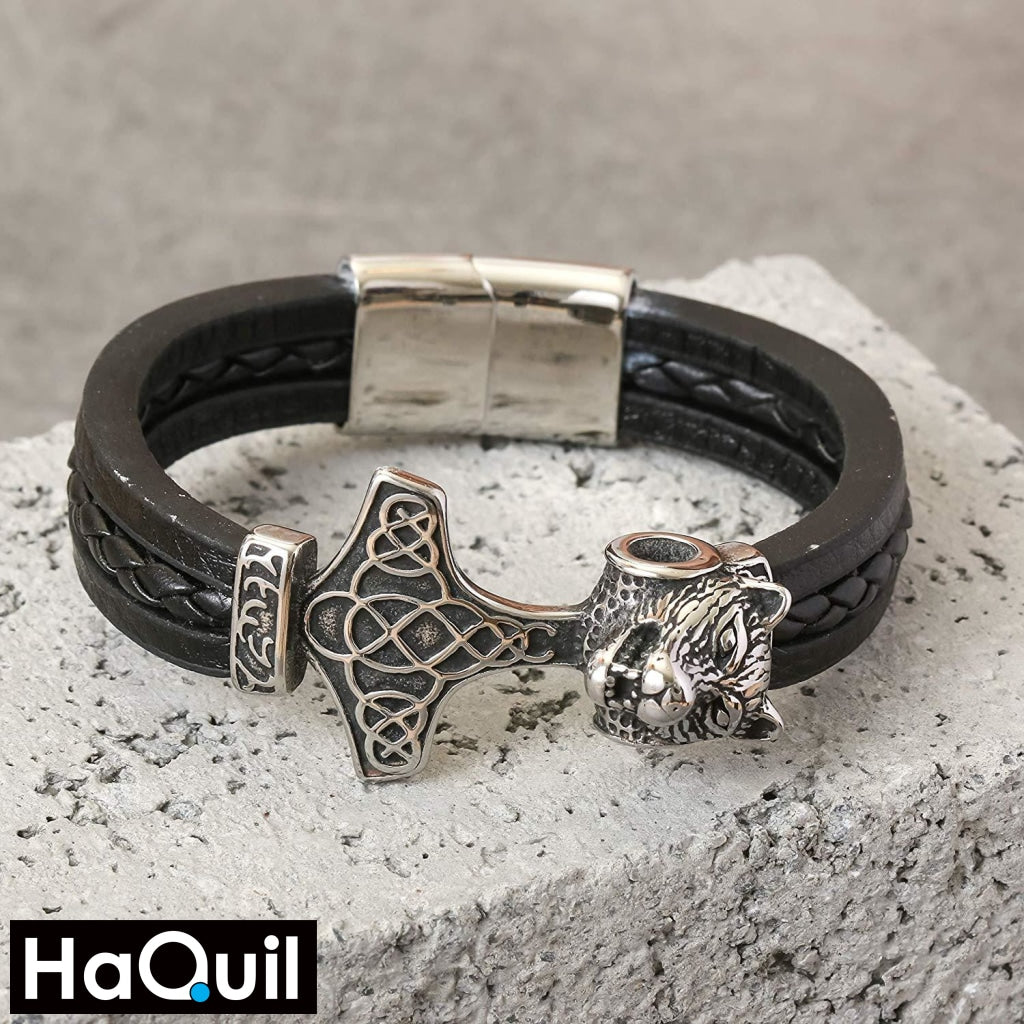 Haquil Viking Thor Hammer Wolf Bracelet Jewelry