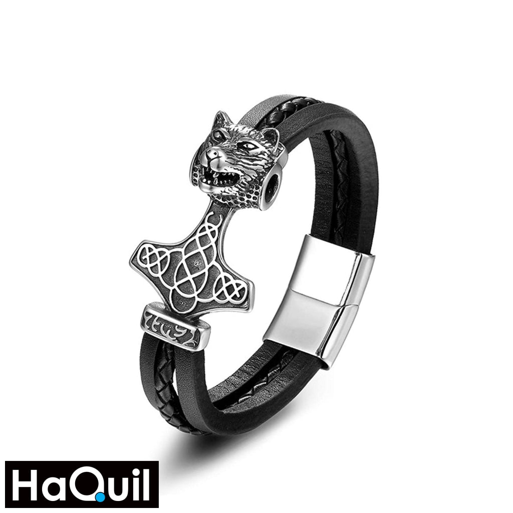 Haquil Viking Thor Hammer Wolf Bracelet Stainless-Steel / Mens Leather Metal Jewelry