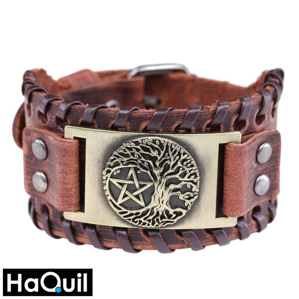 Haquil Viking Tree Of Life Pentagram Bracelet Alloy / Mens Leather Metal Jewelry