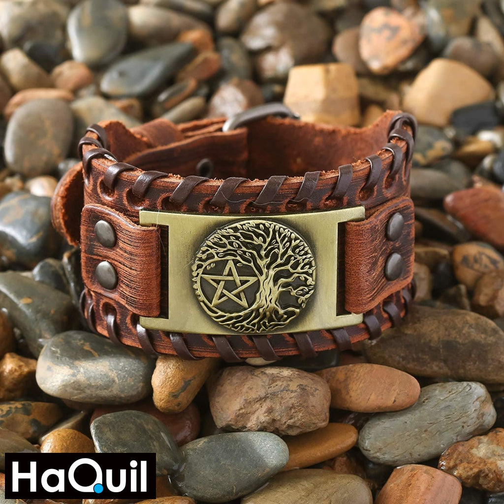 Haquil Viking Tree Of Life Pentagram Bracelet Jewelry