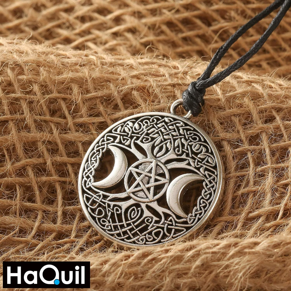 Haquil Viking Tree Of Life Star Triple Moon Necklace Jewelry