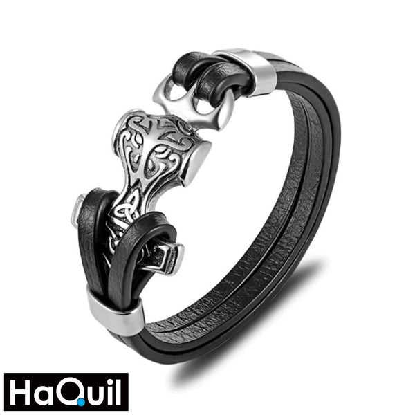 Haquil Viking Trinity Knotwork Hammer Bracelet Stainless-Steel / Mens Leather Metal Jewelry