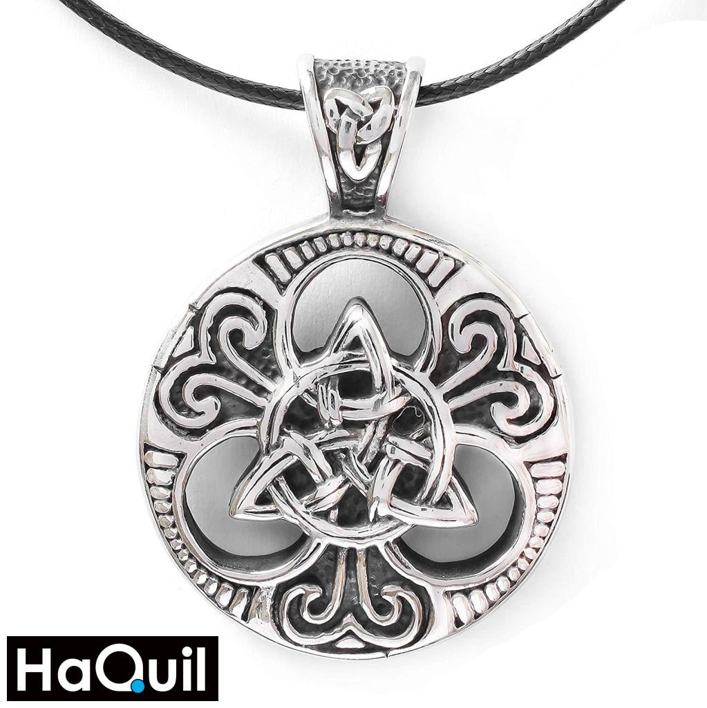 Haquil Viking Trinity Knotwork Round Necklace Stainless-Steel / Mens Metal Jewelry